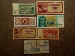 7 db külföldi vegyes bankjegy (id7733)
