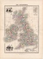 Brit szigetek térkép 1880, francia, atlasz, eredeti, 34 x 47 cm, Anglia, Írország, Wales, Skócia