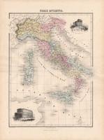 Itália térkép, készült: 1880, francia, atlasz, eredeti, 34 x 47 cm, történelmi, római kor, antik