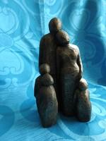 Bronzirozott kisplasztika : Család - kubista stílusú szoborcsoport