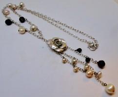 Különleges ezüst nyakék valódi gyöngyökkel ónixal