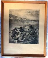 Ábrahám Rafael rézkarc, halászok jelzett.  26,5 x 29, 5, 47,5 x 39 cm.