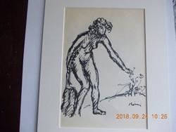 Rippl-Rónai József: Virágot szedő Akt