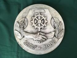 Szendrői Árpád Vasasszakszervezeti embléma patinázott gipsz 30 cm
