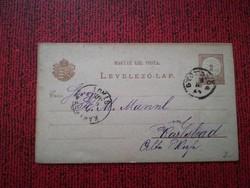 1882-es Levelezőlap 2 kr GYÖNGYÖS - KARLSBAD