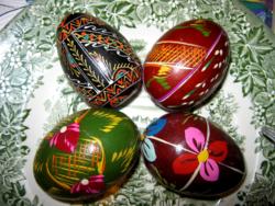 4 db  retro festett fa húsvéti tojás