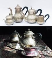 Gyönyörű fém kiöntő szett - kávézó, kávéskanna készlet cukortartóval és tejszínes kiöntővel