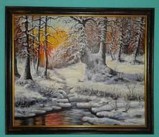 Olajfestmény - Téli táj - Szikrázó havas naplemente