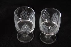 2 db csiszolt üveg pálinkás, likőrös pohár