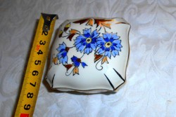 Zsolnay búzavirág mintás porcelán doboz-körbélyegzős