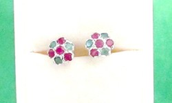 Rubin-smaragd köves virág fülbevaló