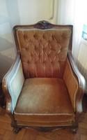 Barokk, 3 darabos steppelt fotel set oldalán zárt karfával, drapp bársony huzattal