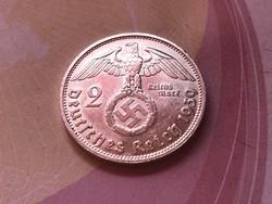 1939'D' ezüst horogkeresztes 2 márka verdefényes