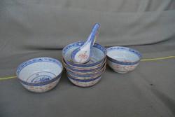 Kínai rizsszemes porcelán leveses tálka