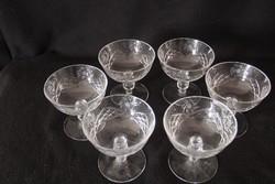 6 db csiszolt üveg pezsgős pohár