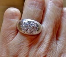 Különleges szép régi ezüstgyűrű hegyikristályokkal