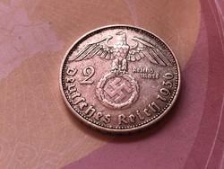 1936'D' ezüst horogkeresztes 2 márka Ritka,patinás