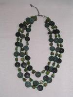 3 soros zöld nyaklánc