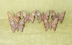 Réz pillangó, lepke alakú szalvétagyűrű, szalvétatartó 6 db