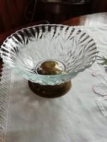 Réztalpas üveg asztalközép, kínáló