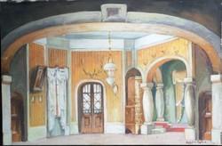 Komáromi-Kacz Endre (1880 - 1969) Vadász kastély Tempera papír.