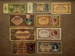 9 db történelmi pengő bankjegy/id 7638/
