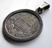 Ferenc József ezüst egy koronás érme medál foglalatban 1915 Körmöcbánya