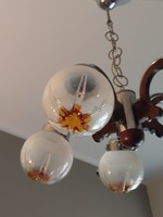 Mazzega muránói modern csillár fa króm üveg midcentury