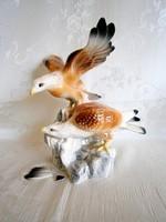 Nagyon szép, de sajnos sebesült porcelán sas madár pár sziklán