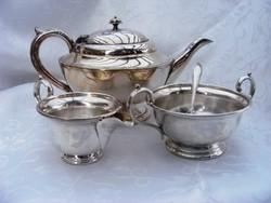 Álomszép, ezüstözött, art deko teás kanna tejszínes kiöntővel, cukortartóval, hozzá cukorkanál