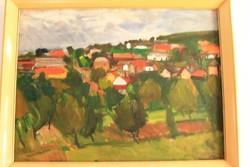Nagy Gyula Piros háztetők festmény