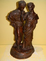 Görög jelenetes terakotta szobor páros.