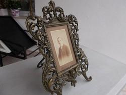 Puttós angyalos fénykép.tükör keret,bronz,26x40 cm(12x19)