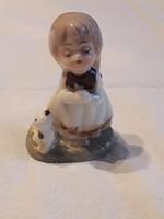 Kislány cicával - porcelán