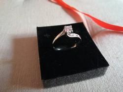 Olasz 18 karátos fehér arany gyűrű fehér cirkón kővel, 62 méret