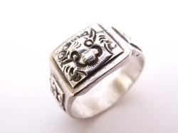 Ázsiai,mitológiai sárkányos ezüst pecsétgyűrű