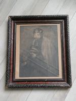 Fényes Adolf férfi portré grafika eredeti keretben   38x45 cm