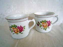 2 db régi pecsétes rózsa mintás Hollóházi nagy bögre, csésze, tejfölös csupor fél literes
