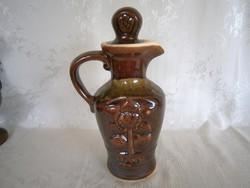 Nagyon régi és különleges Orosz kerámia boros kancsó, kiöntő, korsó dugóval