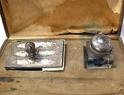 Német ezüst tapper és tintatartó eredeti dobozában.