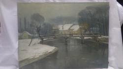Halasi Horváth István 1942 Jászberény olaj-vászon festmény 60x80 cm