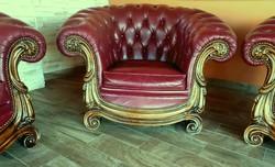 Chesterfield  - barokk - bőr ülőgarnitúra eladó (3-2-1)