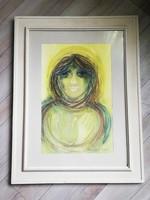 Macskássy Izolda hatalmas sárgás tónusú selyemkollázs női portré  84x64 cm