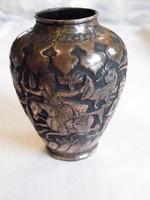 KK286 Antik Perzsa Trébelt vörösréz váza vadász jelenet