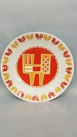 Zsolnay modern Nádor Judit tervezte csibés fali tányér