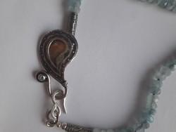 Izraeli ezüst nyakék, akvamarin,pici kék topáz