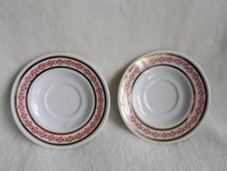 Alföldi porcelán arany szegélyes csészealj 2 db együtt