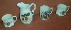 B.Purday kézi festésű porcelán, 2 db, és másik kettő, jelzetlen porcelán csészécske