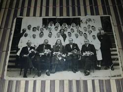 Horthy korabeli nővér csoportkép. Szépen feldíszítve! Nagyon ritka kép! Szakadt! 13,5x8,5 cm