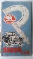 Skoda 440 kezelési és javítási könyv németül, 72oldal,1957 kiadás,gerinc szakadt, mérete:11cmX20cm